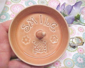 Mother's Day Gift - Pottery Ring Dish - SMILE Peach Crackle Glaze - Handmade Ring Dish - Butterfly design - READY to Mail