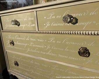French Love Letters Furniture Stencil - Paint Dresser with Script, Vintage Furniture Quote, Shabby Chic Typography