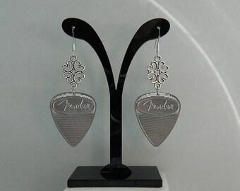 Fender Guitar Pick Earrings, Silver