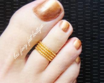 Gold Toe Ring, Stacking Toe Rings, Stacking Rings, Gold Ring, Ring, Gold Beads, Stretch Bead Toe Rings