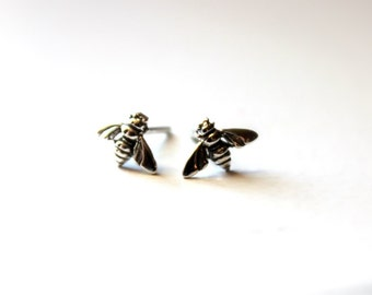 Honey Bee Sterling Silver Post Earrings- Spring Fashion under 30