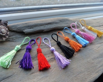 Colored Tassels, Tassel Assortment Jewelry Finding, Boho Jewelry Design Supply, 2 inch Thread Tassles -10-