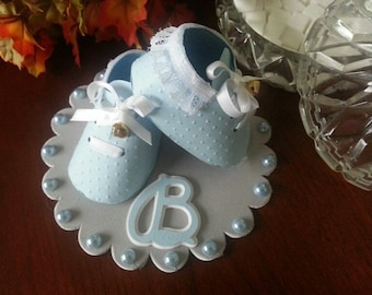 Baby Shoe Cake Topper / Baby Boy Cake Topper / Baby Shower Cake Topper