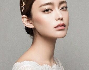 High Fashion Gold Dragonfly Headband Insect Bridal Headpiece Tiara Wedding Head Accessory