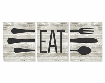 Eat Kitchen Art Print, Rustic Wood 'Look', Fork Spoon Knife Art, Set of Three 5x7, 8X10, 11x14 Kitchen Decor, Rustic Kitchen Wall Art
