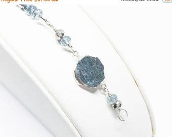 25% OFF Blue Tourmaline, Quartz, and Silver Pyrite Gemstone . Sterling Silver Layering Bracelet . Teal Blue, Aqua Blue, Metallic Silver . B1