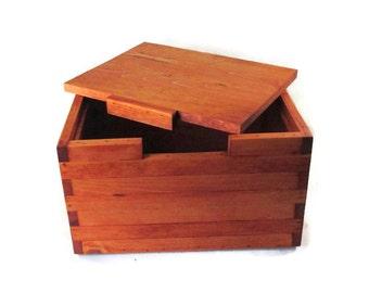 Large Wood Memory Box For Keepsakes or Storage