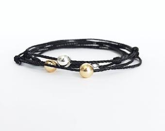 Black cord bracelet Black String Bracelet Surfer bracelet surfer style Mens bracelet Surfer jewelry Mens Gift for him bracelet for mens