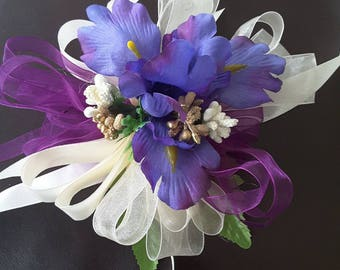 Purple wrist corsage,  Purple wedding,  Purple Prom corsage