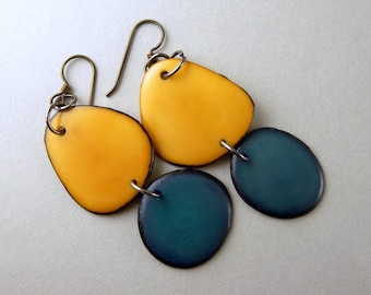 Coppertone and Denim Bluejeans Tagua Nut Eco Friendly Earrings with Free USA Shipping #taguanut #ecofriendlyjewelry