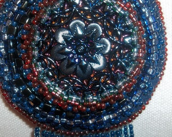 Long Bead embroidered necklace