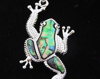 Frog pendant, abalone and silver, silver omega chain, choice of length, free shipping