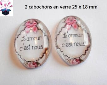 2 cabochons glass 25mm x 18mm theme love message