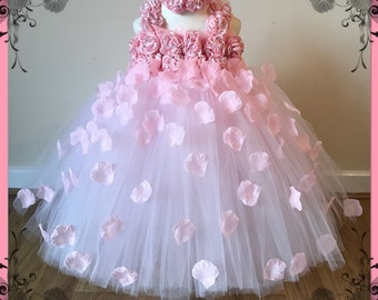 Beautiful Baby Pink Pale Pink Light Pink Flower Girl Tutu Dress Embellished with Petals. Bridesmaids Weddings Christening Special Occasions.