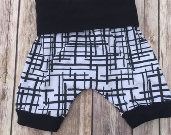 RTS Monochrome Crosshatch Grow With Me Harem Shorts, Cloth Diaper Shorts, Modern Shorts, Toddler Shorts, Baby Shorts by Note Any Treble