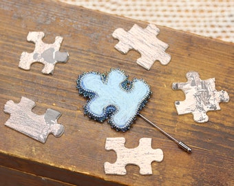 Blue puzzle brooch, Autism awareness jewelry, Puzzle Piece pin brooch, Awareness brooch, Autism jewelry, Felted pin brooch, Zipper jewelry