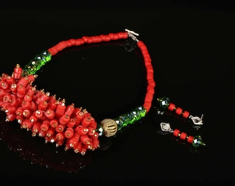 Fruit of labor orange,green authentic clay beaded necklace and earring set