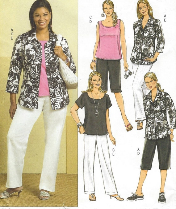 Plus Size Womens Shirt, Tops, Shorts & Pants OOP Butterick Sewing ...