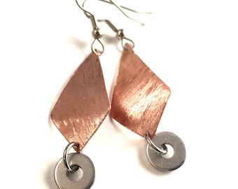 Copper Dangle Earrings Handmade Hardware Jewelry