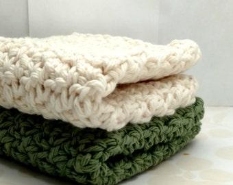 Cotton Washcloths Dishcloths , Crochet Sage Green and Ivory Wash Cloths, Eco Friendly Dish Cloths