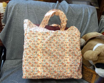 Cotton Shopping Tote Bag, Small flowers Pink Print