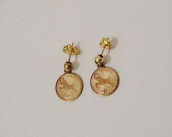 Vintage Aries 12k gold filled stamped Earrings.