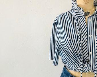 Striped Cotton Blouse Ruffled Collar