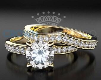 Engagement Ring Women Wedding Band Set Yellow Gold 1.6 Carat F VS Round Brilliant Cut Diamond Ring For Ladies Size 4 5 6 7 8