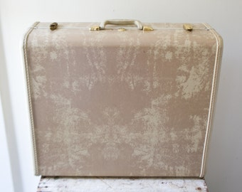 Vintage Samsonite Luggage Suitcase Green Gray Grey Large Travel Samonsite Luggage with Hangers Tan Marbled Hard Case
