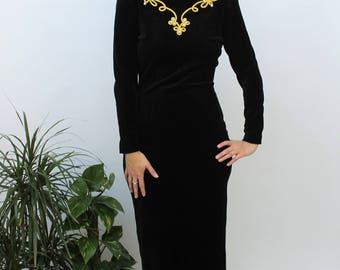 1980s Black Velvet Bodycon Dress with Gold Embellishment Size UK 10/12, US 6/8, EU 38/40