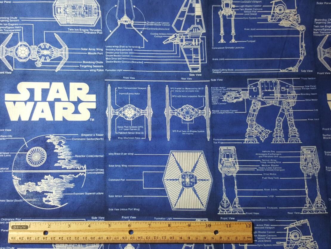 Star Wars Blaupause Stoff, selten, Raumschiff Schaltpläne Deathstar ...