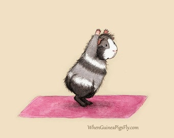 Guinea Pig Yoga Chair Pose - Yoguineas Collection - Cute Yoga Art Print