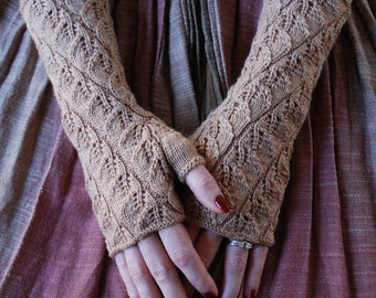 Knitting pattern PDF Spiraling Leaves Fingerless Gloves pattern