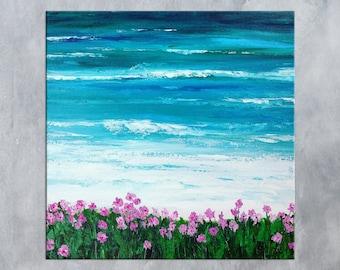 Beach painting, Ocean Painting, Monterey Bay, Palette knife art, Abstract Seascape, California Painting, Carmel art, Beach art, Sea wall art