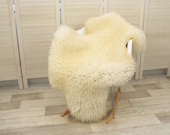 Luxury genuine Swedish single sheepskin rug, natural cream color, #466 CURLY