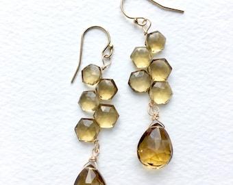 Citrine Earrings, November Birthstone, Gemstone Earrings, Long Dangle Earrings