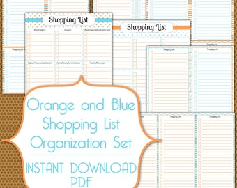 Shopping Lists PDF Instant Download Organization Printable Set in Orange and Blue