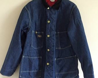 OshKosh B'Gosh Vintage Union Made Sanforized Denim Lined Trucker Jacket with Corduroy Collar / Size 42 Men's XL