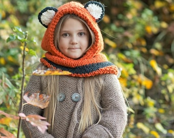 Fox hooded cowl, Knit Fox Cowl, Knit Fox Hood, Fox Hat, Fox Hoodie, Toddler Halloween