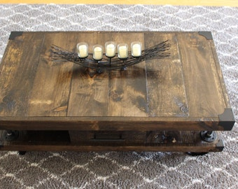 coffee table urban rustic industrial cart style