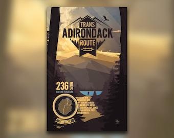 Trans Adirondack Route Print • Adirondacks, NY • New York Print • Mountain Graphic • Wall Art Print • Home Decor