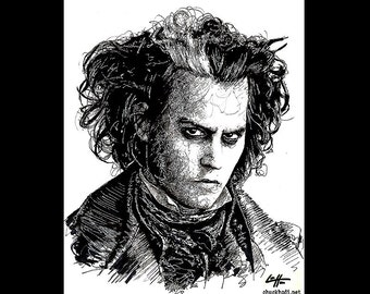 "Print 8x10"" - Sweeney Todd - Johnny Depp Demon Barber Dark Art Horror Blood Murder Death Gothic Halloween London Tim Burton Pop Art"