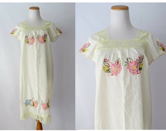 Mexican Dress Embroidered Lace Sundress Sheer Lace Floral Embroidery 1970s 70s Bohemian Hippie Boho Cream Size Small Medium