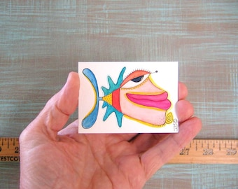 Fish-J72, Original ACEO Watercolor, Art Card, Miniature Painting, by Fig Jam Studio