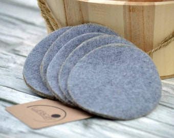 Cosmetic pads made of organic cotton, 5 pieces, pad cleaner, Abschminkpad, baby care, family, wellness, bath, grey, dark grey