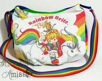 Rainbow Brite purse - Rainbow brite bag - Rainbow brite hobo bag - hobo crossbody bag - Hobo bag - Made to Order