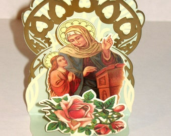 Beautiful 3D MOTHER MARY & ANGEL Christmas Blessing Card Stand to Display Mint Condition Rare Shackman