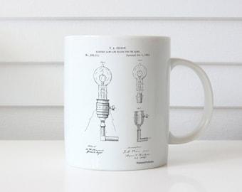 T. A. Edison Light Bulb and Holder Patent Mug, Industrial Decor, Edison Mug, Edison Light Bulb, Technology Mug, PP1082
