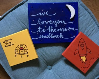 Planet nursery decor. space nursery. set of 3 signs.   Out of this world. welcome tiny human.