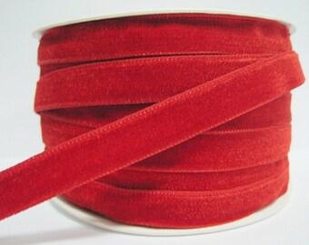"5 yards 1/2"" Red Velvet Ribbon, Red Velvet Ribbon, Ribbon, Ribbon lot, Red Tape, Wholesale Ribbon, Red Velvet trim, Velvet ribbon, red trim"